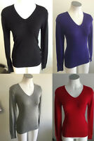 Ladies Ajoy Long Sleeve V-neck Light Jumper Size S,M,L,XL Red Black Grey Purple