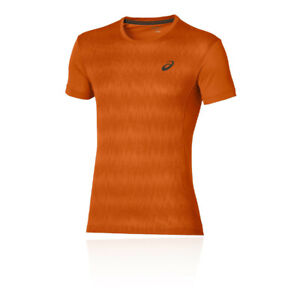 Asics Mens Elite Running T Shirt Tee Top Orange Sports Breathable Reflective