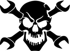 """WRENCH SKULL Vinyl Decal Sticker-6"""" Wide White Color"""