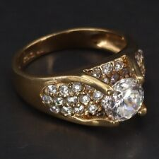 Gold Cocktail Ring Size 10 - 6g Sterling Silver - Cz Cubic Zirconia Cluster