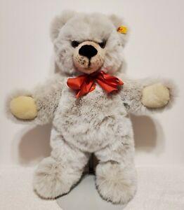 "Steiff Grey Molly Minky Bear, 0318/42, 1989-90, 16"" tall, Grey Woven Fur, TA"