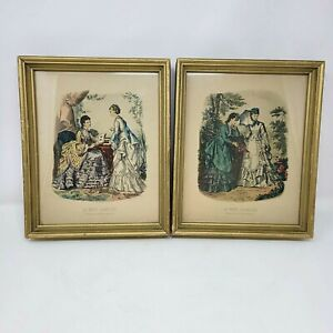 Vintage Framed Pair Of French Fashion La Mode Illustree Hand Colored Wall Art