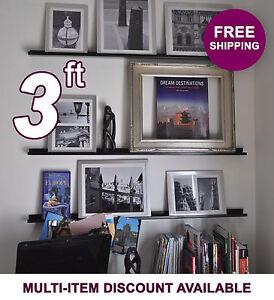 36in x 3.5in ultraLEDGE Black Metal Floating Shelf, Picture Ledge, Art Display