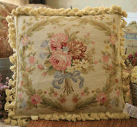 """16"""" Vintage Victorian Blooming Rose Bouquet Handmade Needlepoint Pillow Cushion"""