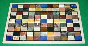 18 x 36 Inches Marble Coffee Table Top with Multi Stone Inlay Work Patio Table