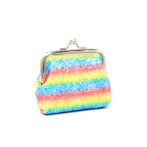 Rainbow Sequin Childrens Glitter Coin Purse Gift Girls Present Money Holder