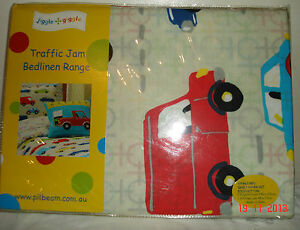 JIGGLE GIGGLE  BOYS TRAFFIC JAM SINGLE QUILT COVER  SET- WITH CARS