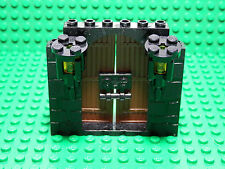 LEGOS - NEW 2 Curved Top Brown Doors on Black Stone Pattern Frame w/ 2 Torches