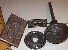 ANTIQUE VICTORIAN DOOR KNOB KEY PLATE BRONZED CAST IRON FANCY EASTLAKE HARDWARE
