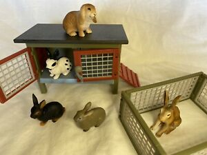 Schleich Farm Life Bulk Rabbits X 5 Plus Hutch #42019 -  RETIRED Hard To Find