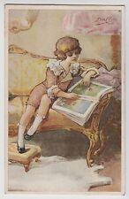 POSTCARD - artist signed Elda Cenni, child boy reading book/magazine