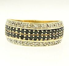 9Carat Yellow Gold Black & White Diamond Cluster Ring (Size R 1/2) 8mm Widest