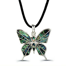 """Butterfly Charm Pendant Fashionable Necklace - Abalone Paua Shell - 18"""" Chain"""