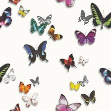 BAHIA WHITE COLOURFUL BUTTERFLY QUALITY ARTHOUSE LUXURY WEIGHT WALLPAPER 690401