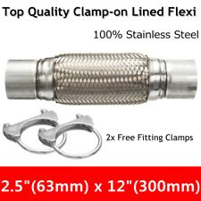 2.5'' x 12'' Exhaust Clamp-on Flex Flexible Pipe Stainless Steel Double Braid