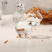 Clear Crystal Elephant Paperweight Animal Figurines Collectible Ornaments Decor