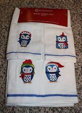 NEW Holiday Bath Towel Set 100% Cotton White 3pc Set Colorful Blue OWLS Winter