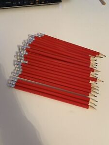 50 Red Wooden HB Pencils Personalised with name or message Weddings Christmas