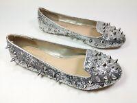 Kurt Geiger Carvela Silver Spiked Slip On Shoes Uk 3 Eu 36
