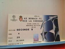 Football Ticket - UEFA - Champions League - AS Monaco - RCD La corogne 2003