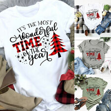 Women Christmas Letter Printed T-shirt Ladies Casual Xmas Short Sleeve Tops Tee