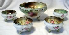 Set of Five Germany Ruffled Edge & Three Footed Hand Painted w/Roses Bowls