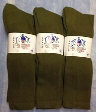 3pr Men's US Army Military Issue Anti-Fungal OTC Boot Socks OD GREEN 9-11 MED