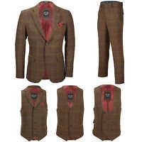Mens 3 Piece Oak Brown Tweed Check Suit Blazer Waistcoat Trouser Sold Separately