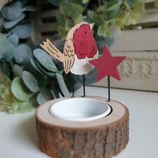 Robin Tea Light Holder Christmas Robin On Log With Xmas Star Detail