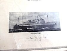 VINTAGE CERTIFICATE ARMY CORPS  US NAVY USS LEJEUNE PORT OF NEW YORK 1945
