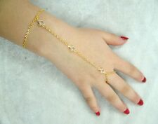 Fashion Gold  Chain Crystal Bead Bracelet Finger Ring Set Slave Hand Harness
