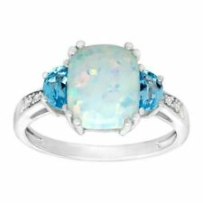 Finecraft SM14884OP1LBSSC 2 3/8 ct Natural Opal and Swiss Blue Topaz Ring with Diamonds