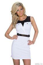 Sexy Mini Kleid Clubwear mit Gürtel Stretchstoff GoGo Abend Größe.34/36 Weiß*♥*