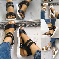 Women Open Toe Ankle Strap Flat Heel Beach Sandals Summer Platform Wedges Shoes