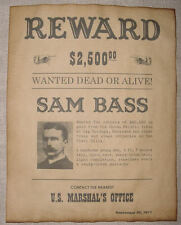 Sam Bass Wanted Poster, Western, Outlaw, Old West