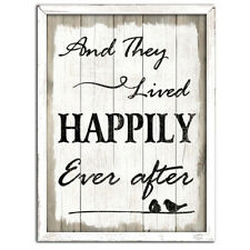 Country Sign Vintage Inspired Wall Art THEY LIVED HAPPILY EVER AFTER Plaque