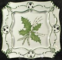 "Vintage RCCL Portugal 7.5"" Square Reticulated Plate - Handpainted Holly Berries"