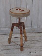 Sgabello tondo bar pub design industrial seduta tessuto gambe tronchetto M-3649
