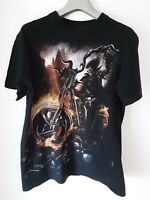 Spiral Direct Wheels Of Fire T.Shirt Biker Reaper Skeleton Medium Black