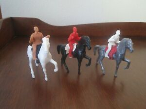 Vintage Stuart Western Playset Lot 3 Horses, 3 Rider & 3 Saddles Different Color