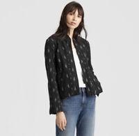 Eileen Fisher Ikat Print Mandarin Collar Doubleweave Jacket Black Blazer Medium