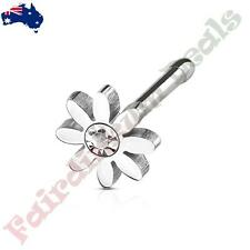 316L Surgical Steel Nose Stud Bone with Clear Centered Crystal Daisy Top