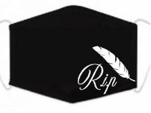 R.i.p, Funeral, Face Mask, Feather, Black, reusable, fashionable, washable