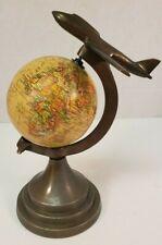 "4"" World Globe With Metal Base Airplane Plane Frame Desktop"