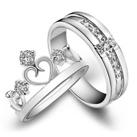 Princess Lover Silver Couple Crown Rings Wedding Band His and Her Promise Ring