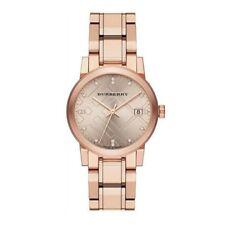 100% Authentic Swiss Burberry The City Rose Gold Diamond Ladies Watch BU9126
