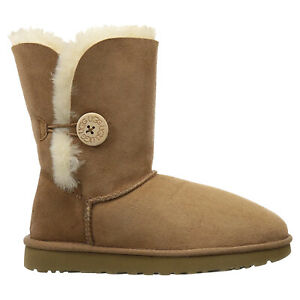 Ugg Australia Womens Boots Bailey Button II Casual Pull-On Ankle Suede