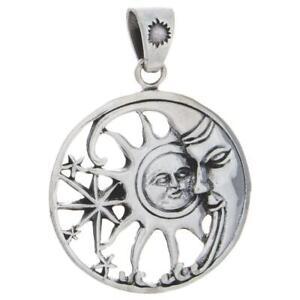 Celestial Moon Sun Starburst Sterling Silver Pendant!