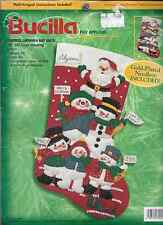 BUCILLA CHRISTMAS CHEERFUL SNOWMEN,FELT APPLIQUE STOCKING KIT, MPN 84258,SEALED