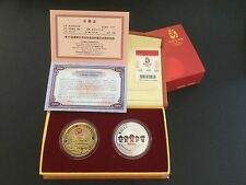 NIB BEIJING 2008  Olympic Games Coins Twin Commemorative Medallion Gold /Silver